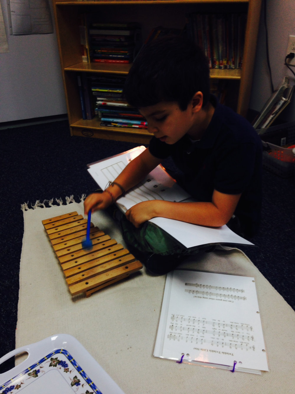 Courtesy of Music teacher Ms. Cristina, the Lower Elementary West students had the opportunity to work with a xylophone and sheet music to play and practice music.