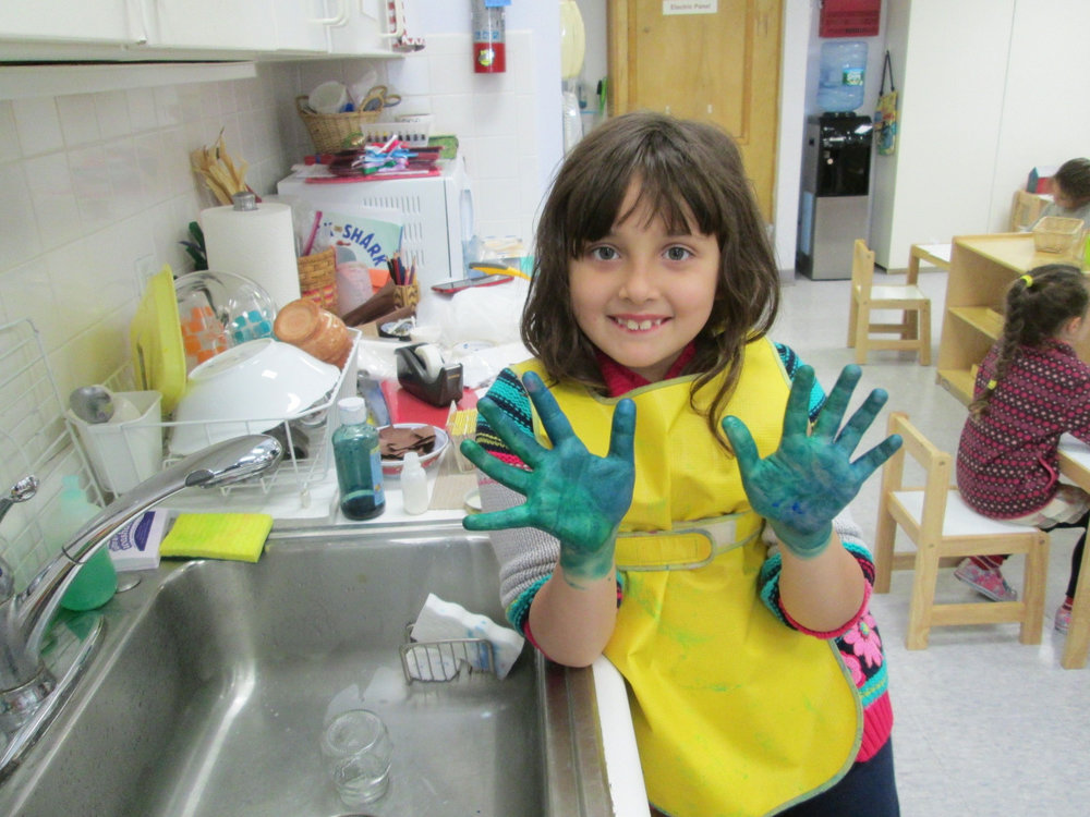 The Primary 3 students were excited to work on their Father's Day projects, especially when they got to rub paint all over their hands afterward!