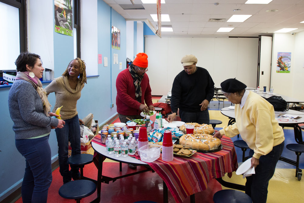 Participants in the second session of The Redline Project, held at Independence Charter School in Philadelphia, take a lunch break February 6, 2016.