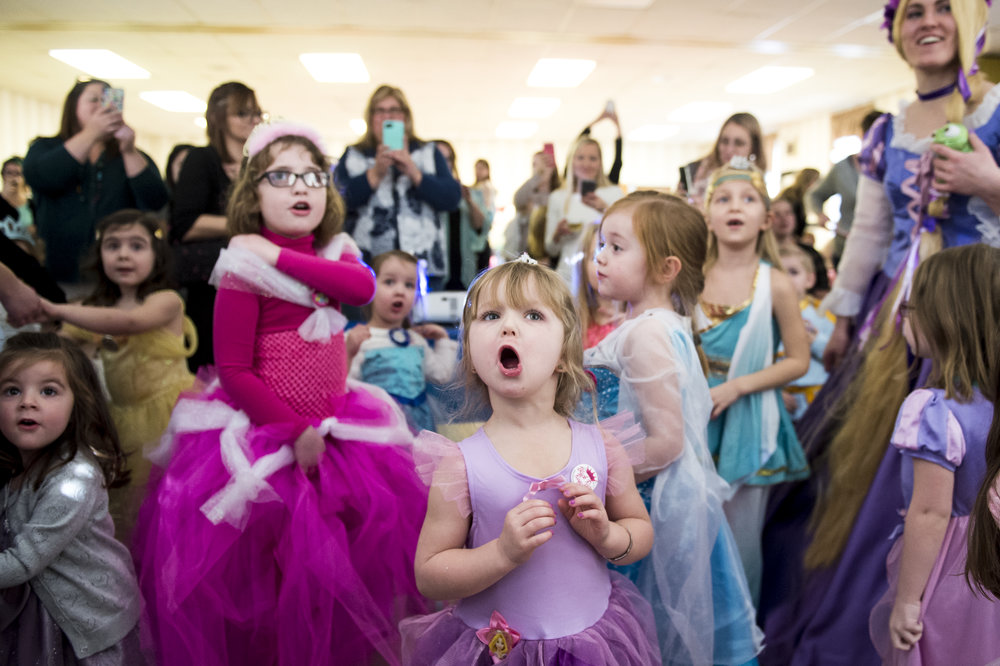 "Ellyanna French, 4, sings along to ""Let It Go"" from Disney's ""Frozen"" during a princess teatime hosted by the Black Rose Rollers at the Hanover YWCA."