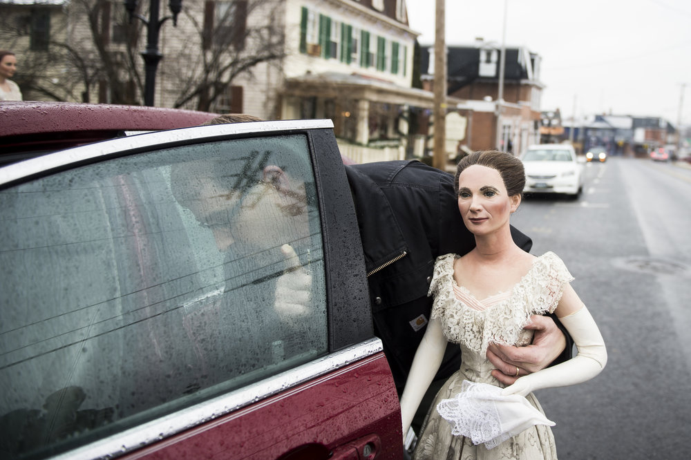 John Buchheister packs a wax sculpture of First Lady Julia Dent Grant into his car after an auction at the Hall of Presidents and First Ladies Museum in Gettysburg.