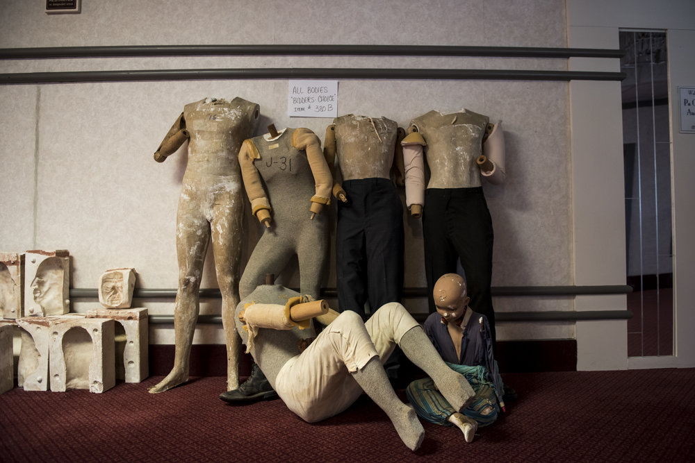 Mannequin bodies are seen in a hallway during an auction for the Follow the Leaders Wax museum held at the Eisenhower Conference Center in Gettysburg.