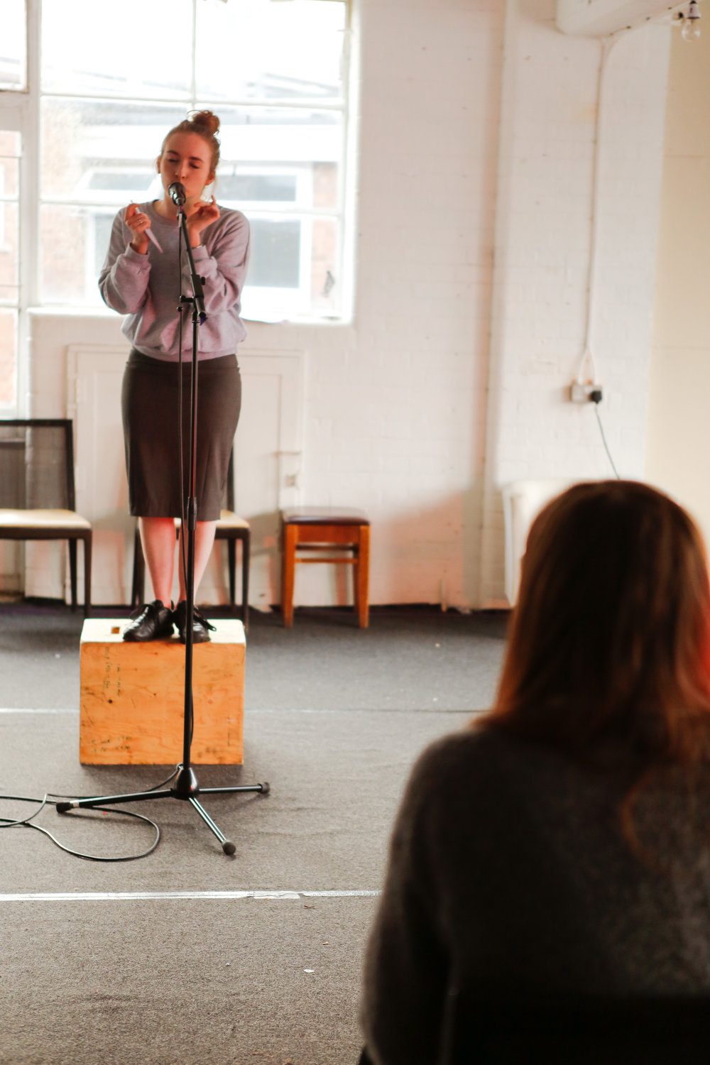 Rose Wardlaw and Nel Crouch in rehearsals at the Young Vic for Speaker by Chris Goode.