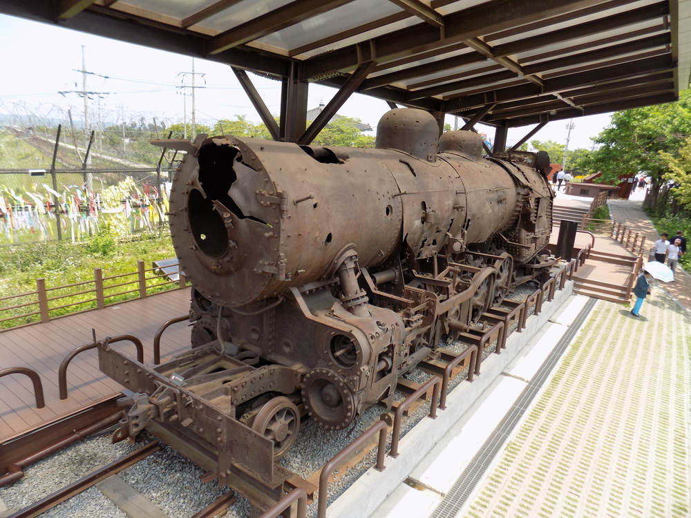Old steam locomotive at the South Korean demarcation zone