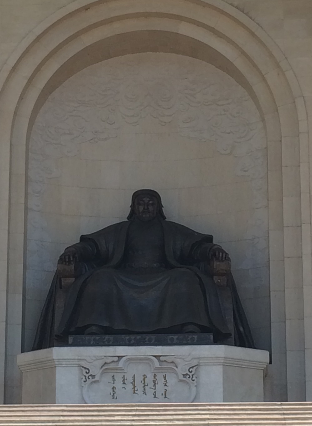 Statue of Genghis Khan in front of Mongolia's Parliament Building