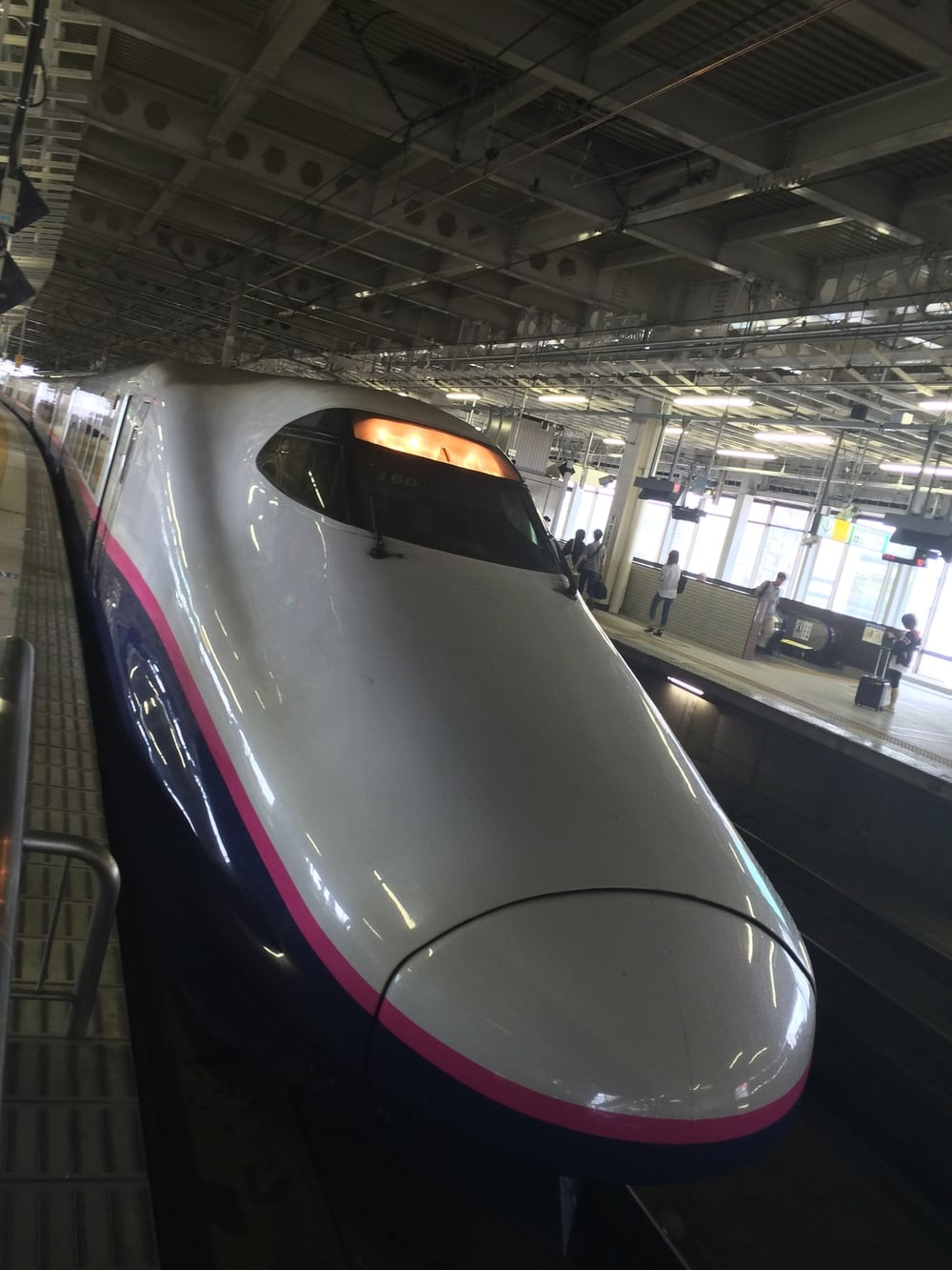 The front of our bullet train, which whisked us from Sendai to Tokyo (just under 250 miles) in less than 90 minutes.