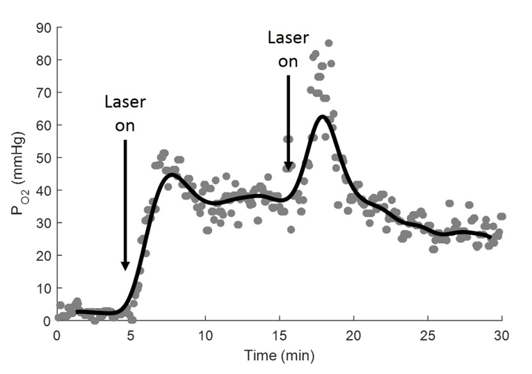 Partial pressure of oxygen released from nanoparticles overtime. Upon laser activation, partial pressure of oxygen in the environment increased.