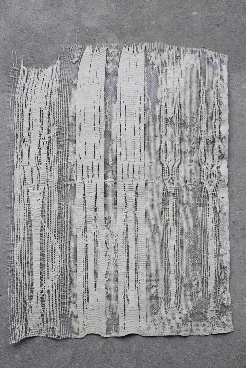 Hospital gauze 2018 plaster, nylon monofilament, cotton and varnish 69 x 52cm