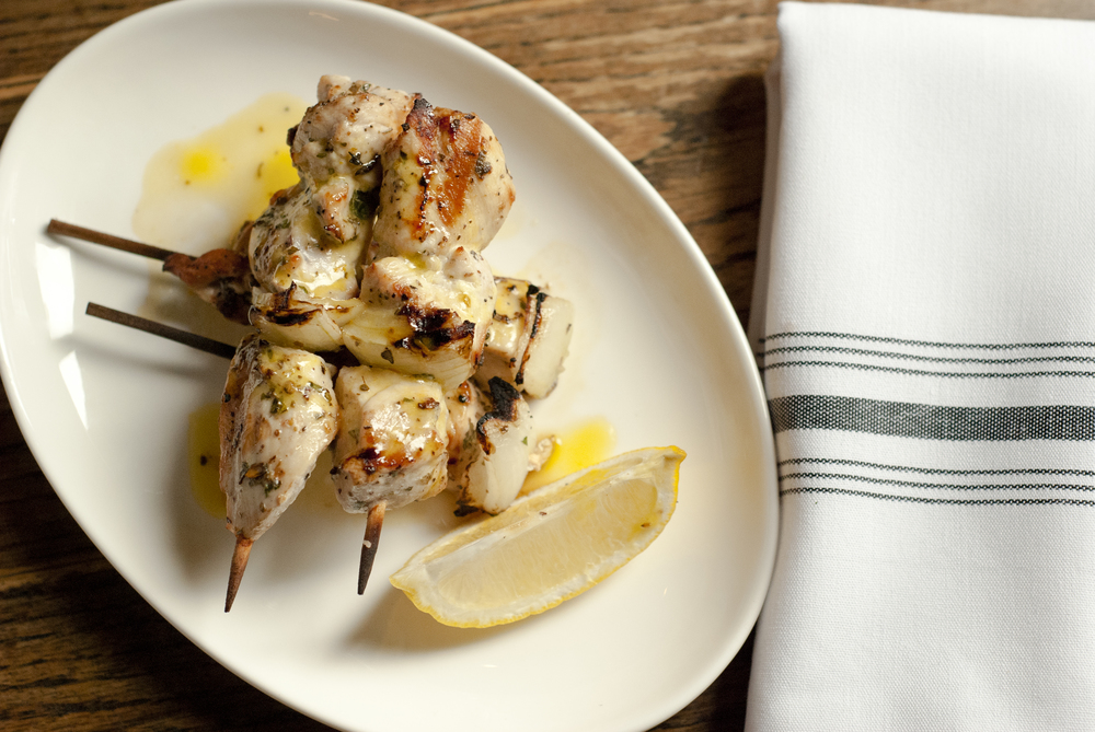CHICKEN SOUVLAKI  GRILLED ON A SKEWER, EVOO, ONION, CITRUS, HERBS