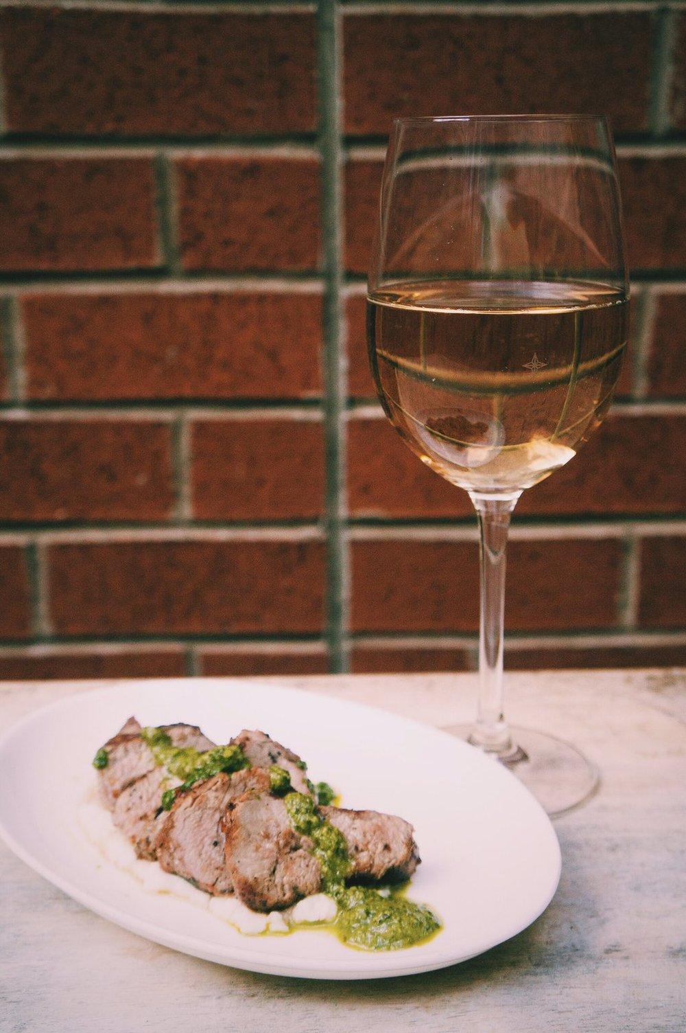 PORK TENDERLOIN  spice-brined pork, goat cheese polenta, orange, rosemary gremolata