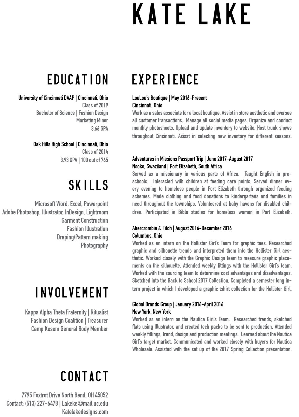 RESUME — KATE LAKE