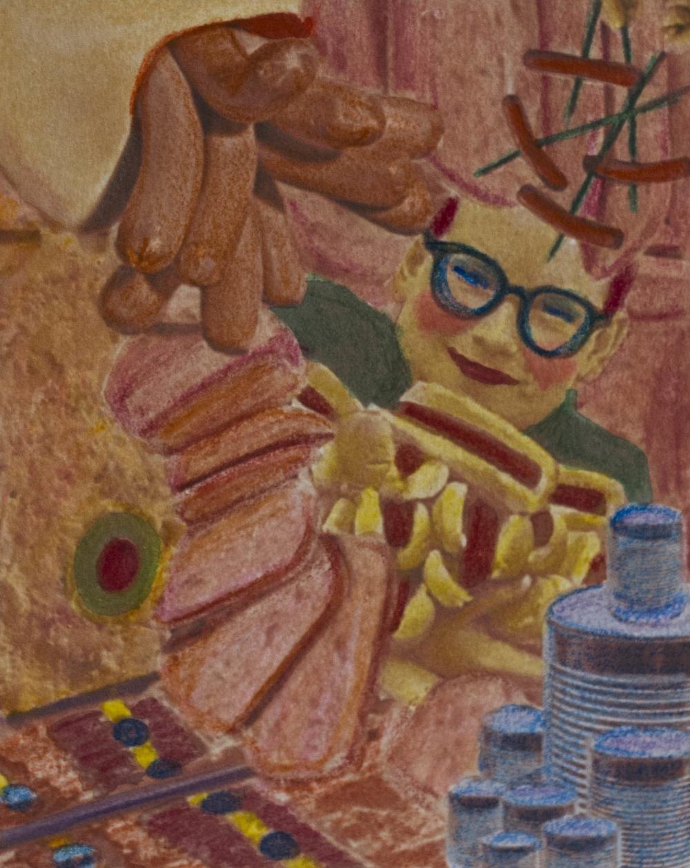fun on a bun! - crayon and watercolour on inkjet digital collage, 8x10