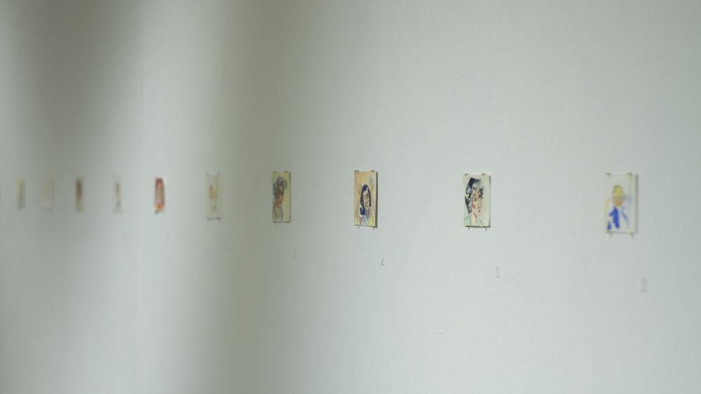Model Femineers(1–50) - watercolour on paper, 3 x 3