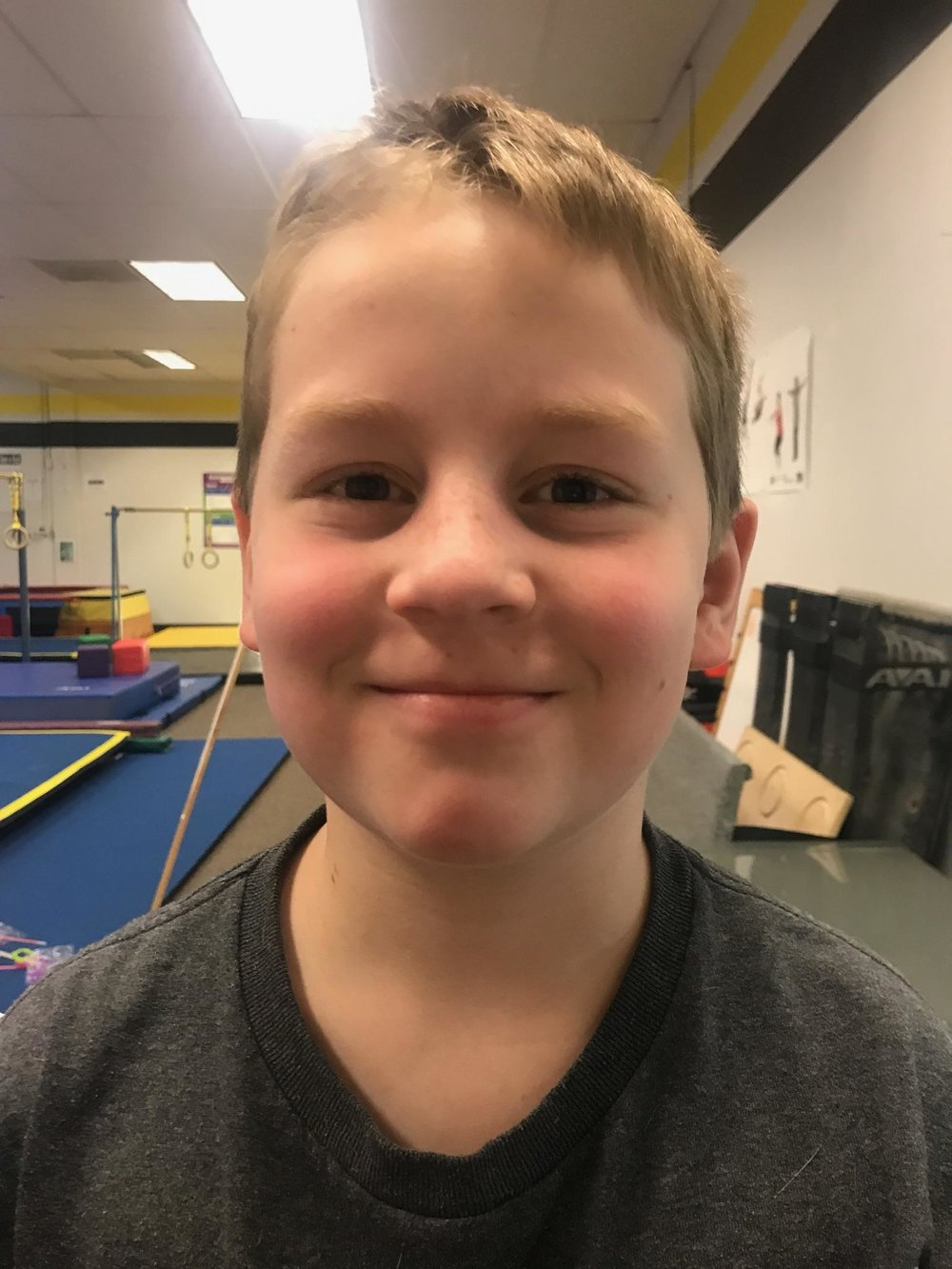 Gabe is a natural leader and a talented gymnast. His group benefits from his creative ideas and suggestions throughout every class. Most importantly, Gabe has shown dramatic improvement in his ability to manage frustrating situations. He continues to be thoughtful about using kind words with his classmates and the staff. We are so proud of Gabe's progress and we look forward to seeing more of his great accomplishments in the future. Keep up the awesome work!