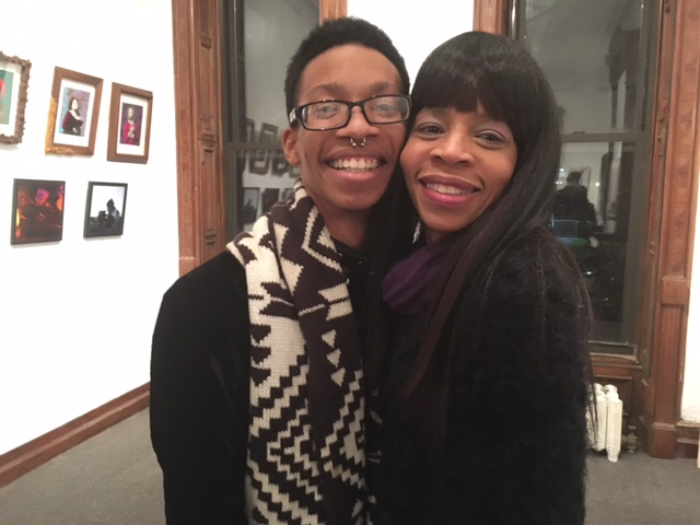 Exhibiting artist Devante Hart with a proud mother who came up from Philadelphia to see the exhibit.