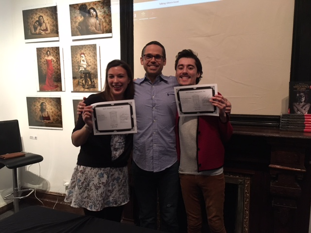 Left to Righ: Alexa Telano, Jonathan Levy (Gallery House Tasks Master) and Eric St. James-Lopez at their induction this past April 30 as Associate Members of the DGT Alumni Association, Inc.