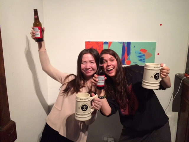 Aika Mukhambetova, Fall 2016 Gallery House, and Asa Maria Camnert, Fall 2016 Gallery House, finally receive their mugs