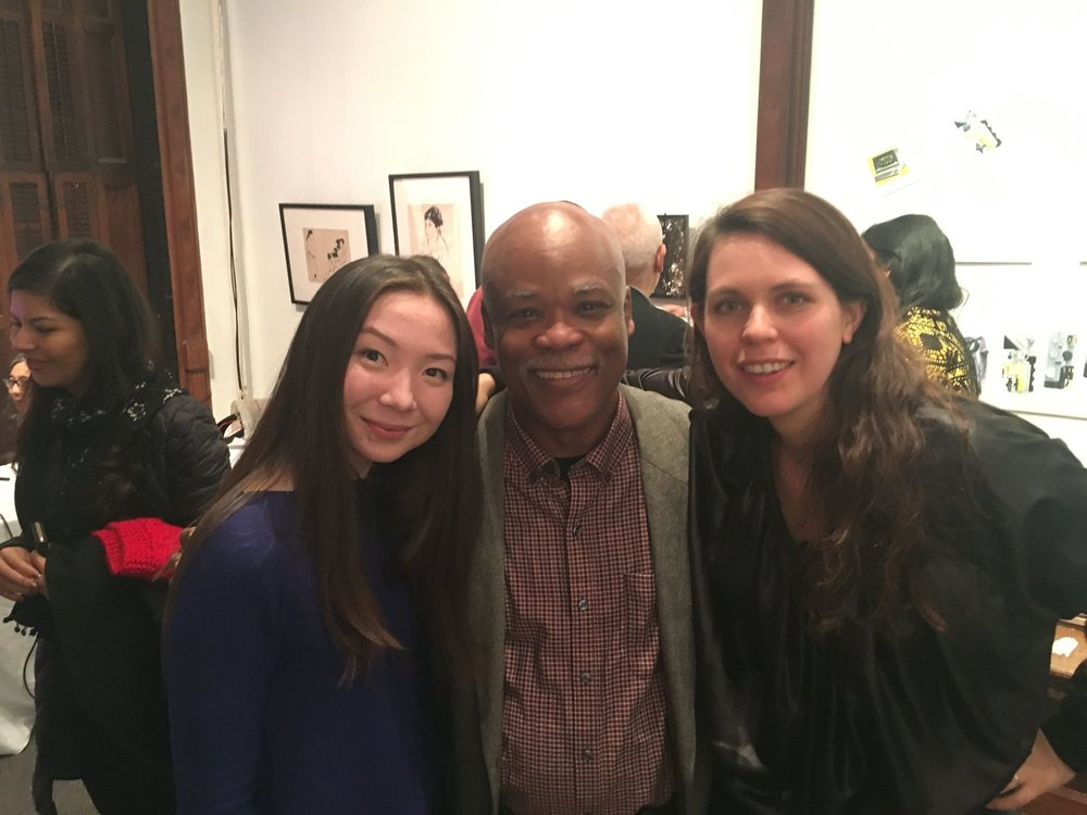 Aika Aigherim, Co-lead Coach, Gil Gerald, DGT Foundation Board President, and Asa Maria Camnert, Co-lead Coach. Asa and Aika, former interns of Gallery House, emerged out of the spring 2017 program evaluation and planning process to lead the program in Fall 2017.
