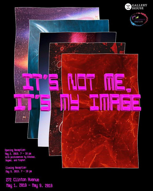 "OPENING RECEPTION: Thursday, May 2nd, 7 to 10 PM. ""It's Not Me, It's My Image"", an exhibition curated by Gallery House Interns of Spring 2019, includes works that offer an experiential exploration of the implications of rapidly developing technology, social media, and the curation of multiple identities. The exhibition embraces a wide variety of media, including installations and video and film as well as more traditional media of painting and photography. Original works will be sold and auctioned to benefit the @childrensartsguild, a local  beneficiary organization committed to providing underprivileged children with arts education.  The opening reception will feature live performances from Wrecked (https://wreckedsketches.bandcamp.com/), Prophet (https://soundcloud.com/thestrangedavinci/tracks), and Segami (@_segami). Link to RSVP in bio!"