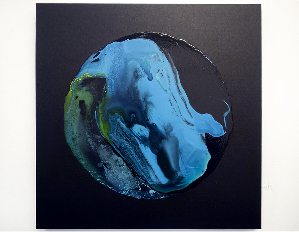 Evening Blue, 60x60cm, Mixed media on canvas