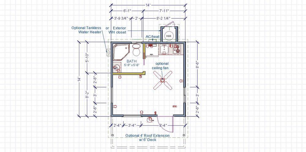 Superb 1 Room Cabin Floor Plans #1: Modern+studio+14x14+front+entry+DWELL+floorplan.jpg
