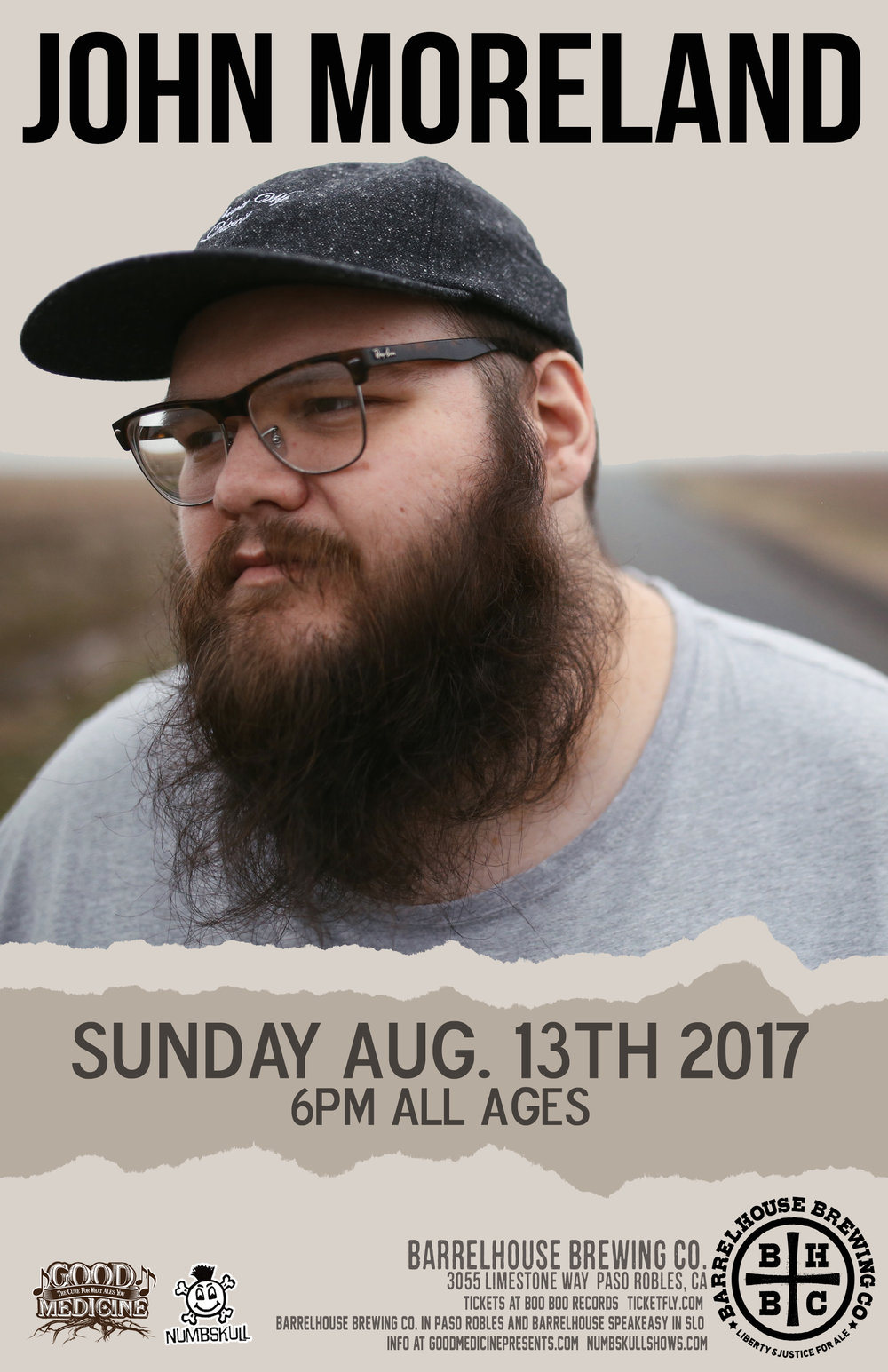 John Moreland BarrelHouse Brewing Co. - Paso Robles Sunday Aug. 13th - 6pm $15/20 - All Ages  Ticketing Link:  https://www.ticketfly.com/purchase/event/1471787