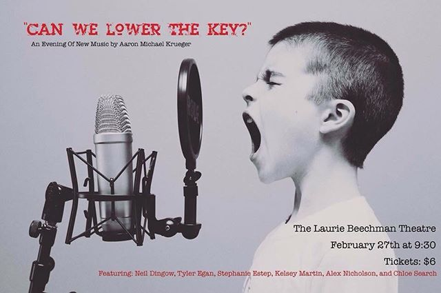 "Are you looking for an evening of key changes and panicked looks on singers' faces while they sing notes they didn't realize they could? Well, look no further!  Come to ""Can We Lower The Key?"": An Evening of New Music by Aaron Michael Krueger February 27th at 9:30pm at @thebeechman Theatre!  Tickets are available now at https://web.ovationtix.com/trs/pr/968234! • #NYC #Cabaret #Midtown #Broadway #Composer #Writer #Lyricist #MusicalTheatre #Musical #Theatre"