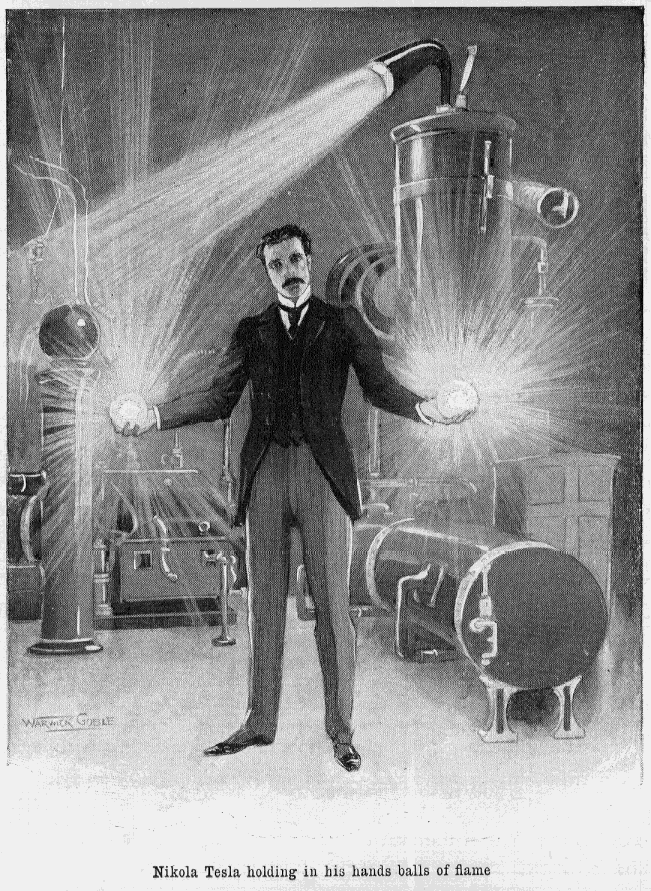 jtotheizzoe: explore-blog: For Nikola Tesla's birthday, a wonderful read on how anarchy and serendipity fuel science nbd just holding in his hands balls of flame
