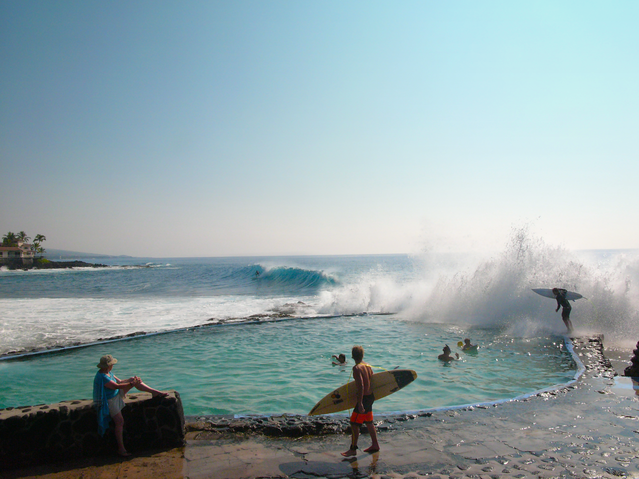 Big swell means big waves at the saltwater pool.
