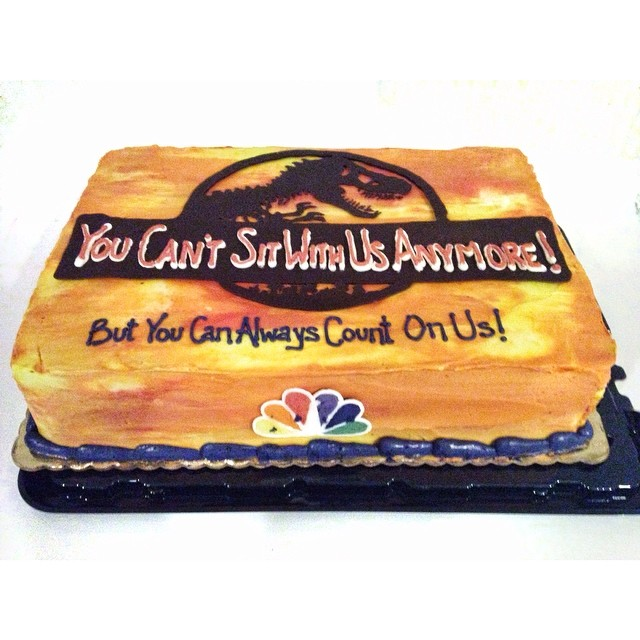 Thanks for the awesome farewell cake everyone! I'll miss y'all. #sports #michaelcrichton #meangirls (at NBC Sports)