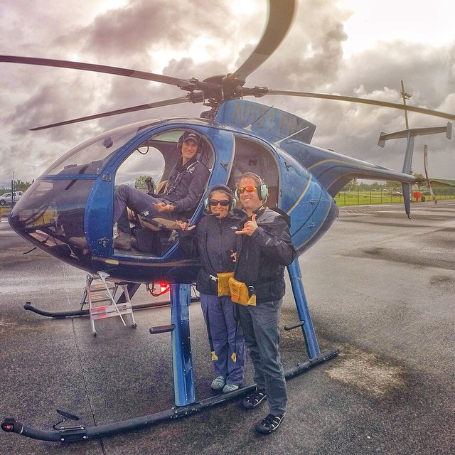 Had a great time last week when my parents visited the Big Island. Looks like they had fun too. Here's a photo my dad sent from after their helicopter tour of tropical waterfalls and flowing lava.  (at AirParents USA)