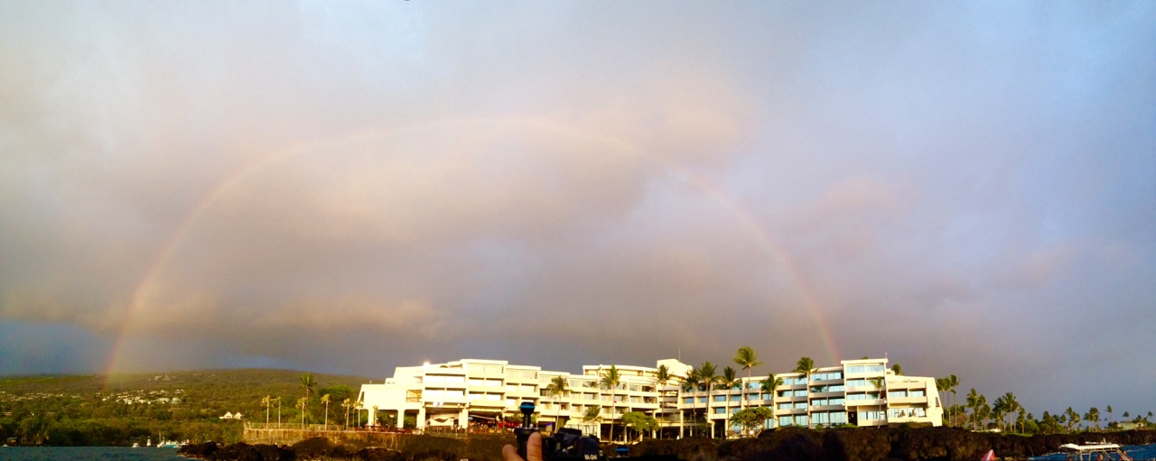 Rainbow over Sheraton seen from Keauhou Bay, Kona Hawaii.