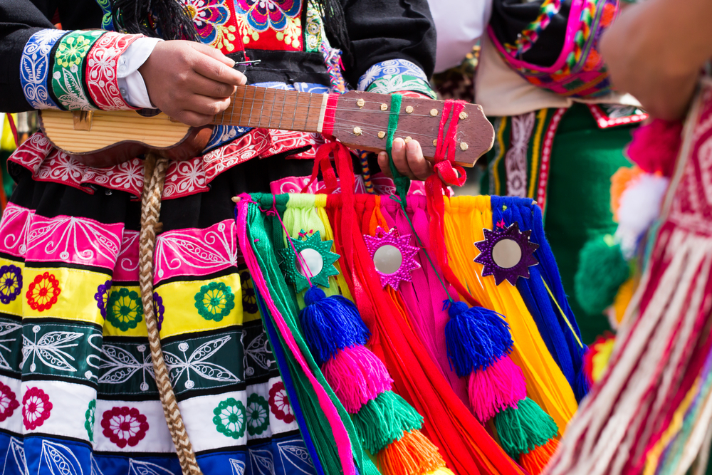 Peruvian dancer and musician playing charango at a parade in Cusco, Peru