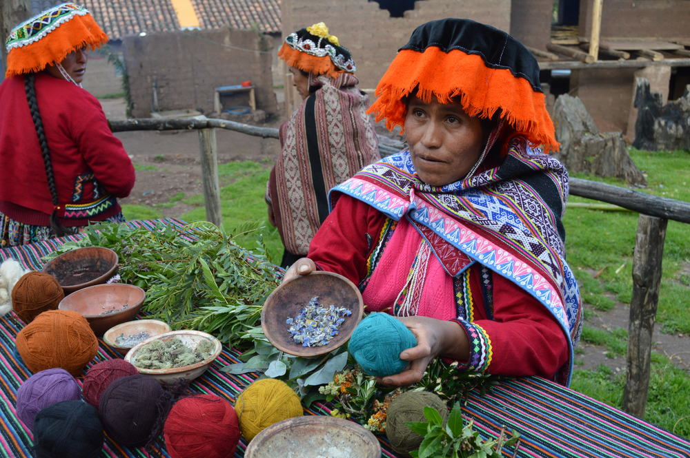 Demonstration and participation in the ancestral dyeing process using native plants and minerals to dye the yarns