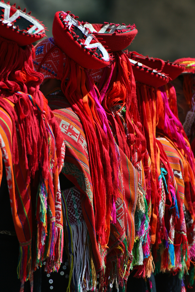 Andean dancers in parade in Cusco, Peru