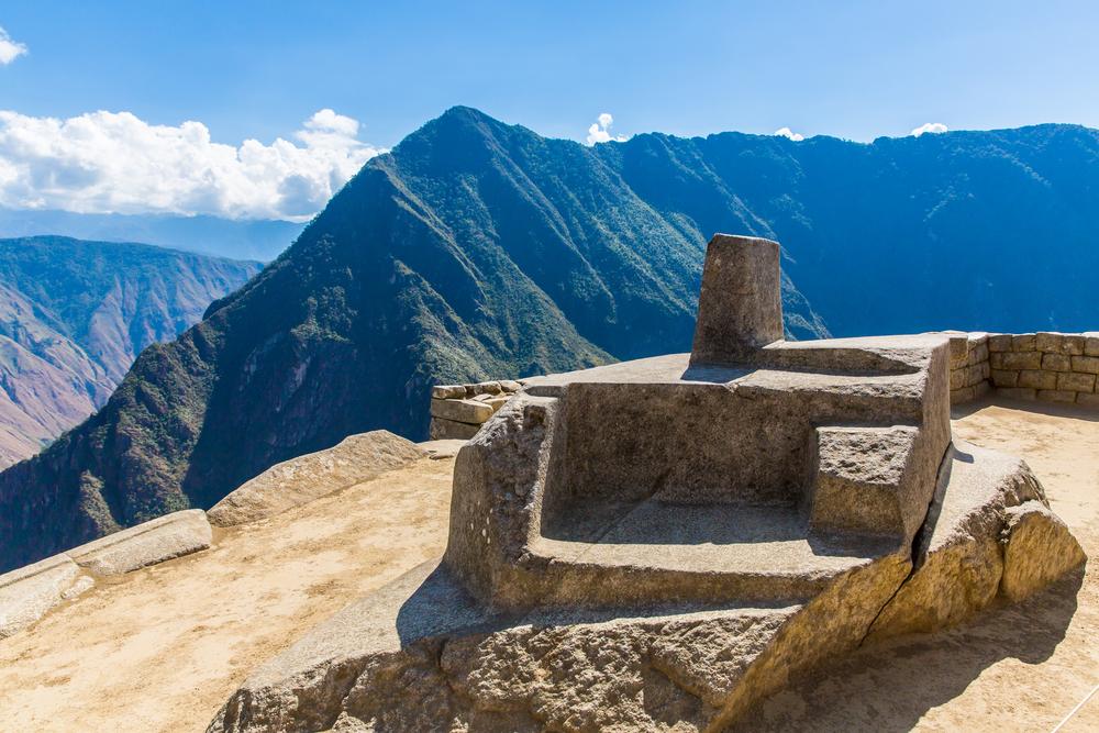 Intiwatana Incan sundial at Machu Picchu, Peru