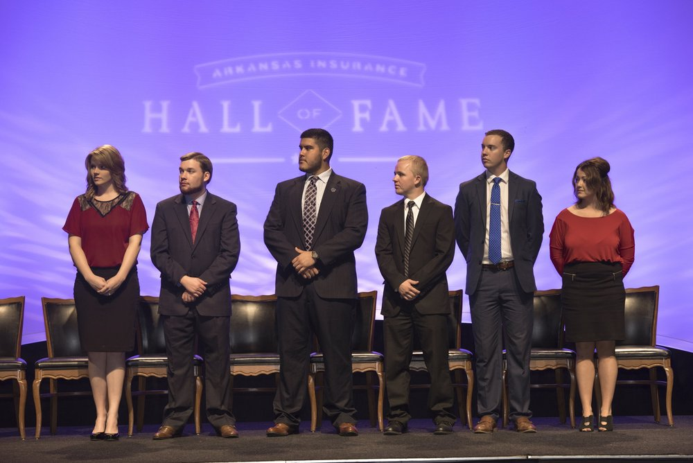 2016-2017 Arkansas Insurance Hall of Fame Scholarship recipients: Brittany Barnett, Alex Cowling, Gilberto Garcia, Silver Ketron, Taylor Lee and Niki Taylor