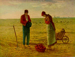 In Millet's famous painting, a peasant boy and girl in    France recite the Angelus at dark.  The prayer originated during the time of the Crusades as a prayer for peace and                           tranquility for their country.