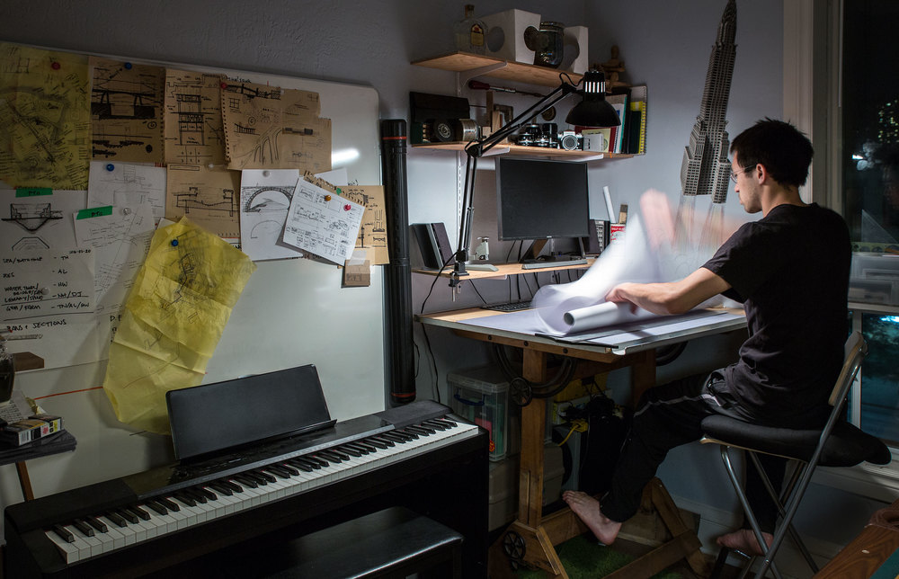 Studio Workspace: Julian's drafting/architectural studio.