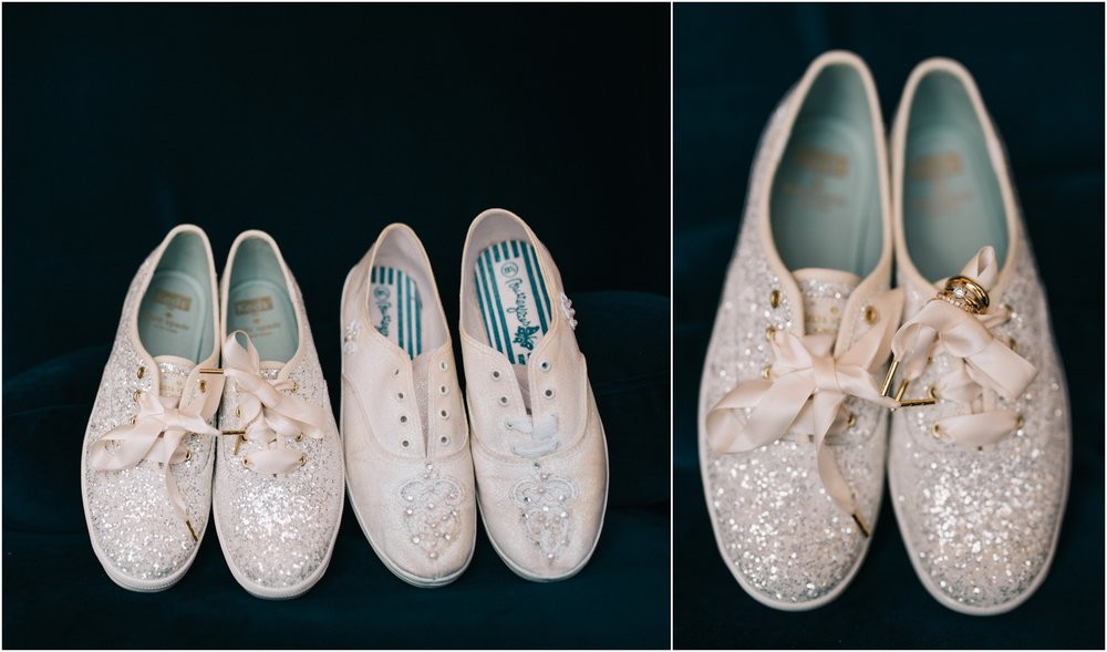 Katy's shoes and her mom's...they both wore dazzling white sneakers on their wedding days!