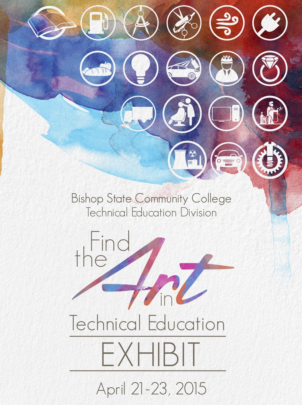Bishop State Community College's Find the Art in Technical Education.  Art exhibit featuring the various department of technical education at the college. The project consisted of event planning; public relations, digital advertising and marketing for the week-long event and reception;  invitations and campaign promotional pieces.