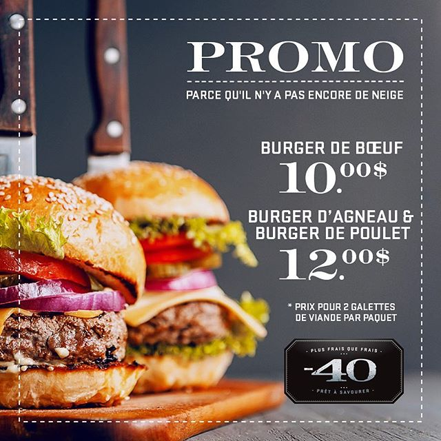 Our delicious gourmet burgers are made with love & on promo - faites vite avant que la neige tombe et l'hiver arrive - We still got summer in our mind 🍔 . . . . #foodporn #sansagentconservation #foodie #foodiesofinstagram #instafood #plusfraisquefrais #foodgasm #food #moins40 #minus40 #noaddedpreservatives #eat #nomnom #mtlfood #mtlfoodie #foodiesmtl #yummy #mtlmoments #mtleats #instagood #instafood #burger #madewithlove #gourmet #bbq #mtleats #montreal #montreal #montrealcity #montrealmoments #montrealfood #gourmetburger #shoplocal