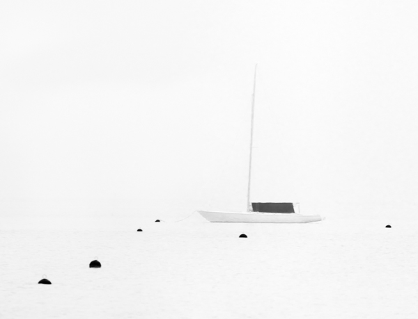 Early harbor, 300mm lens with medium format camera, 1/30th sec at f6.3, high key, Black and White