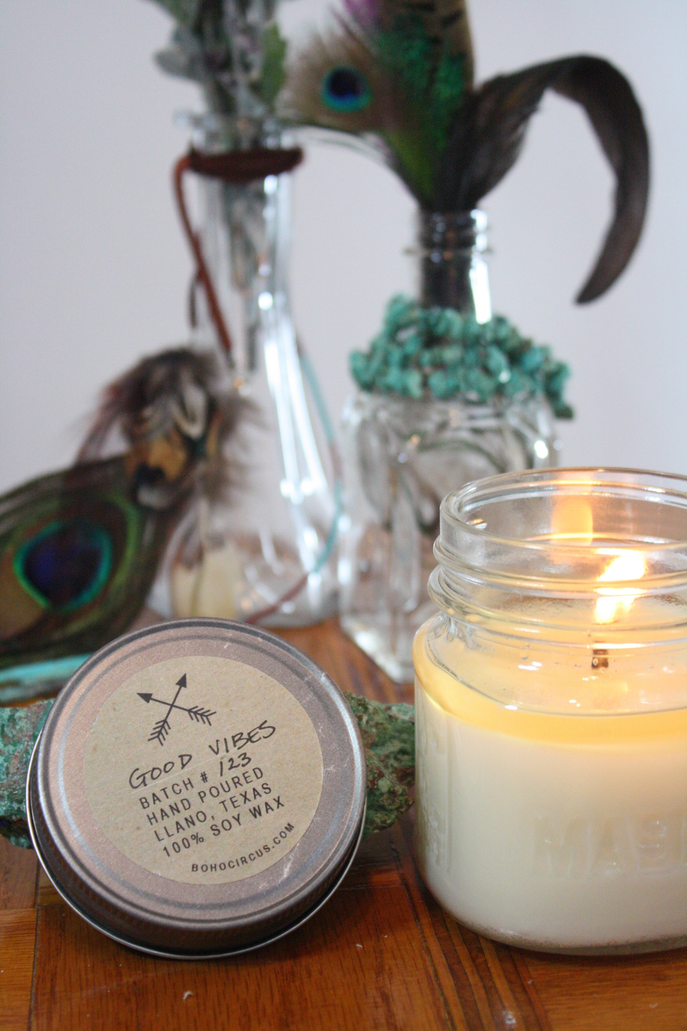 Boho Circus Home Goods // Good Vibes Candle