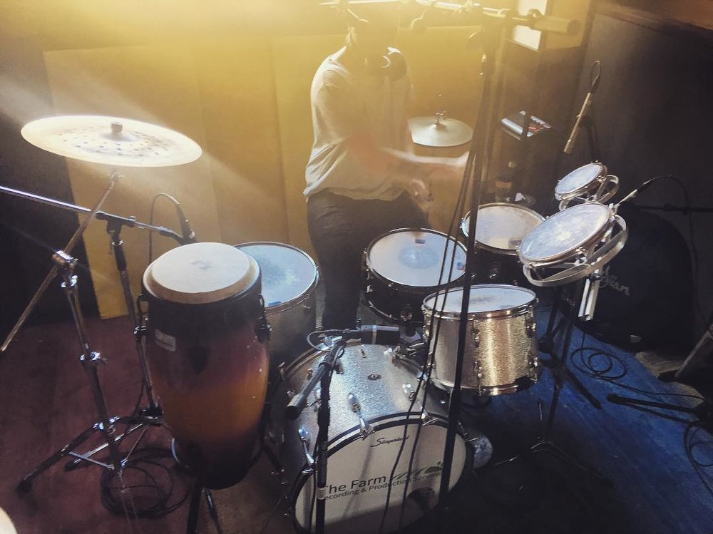 Less than traditional drum setup  #toms #thefarmstudio