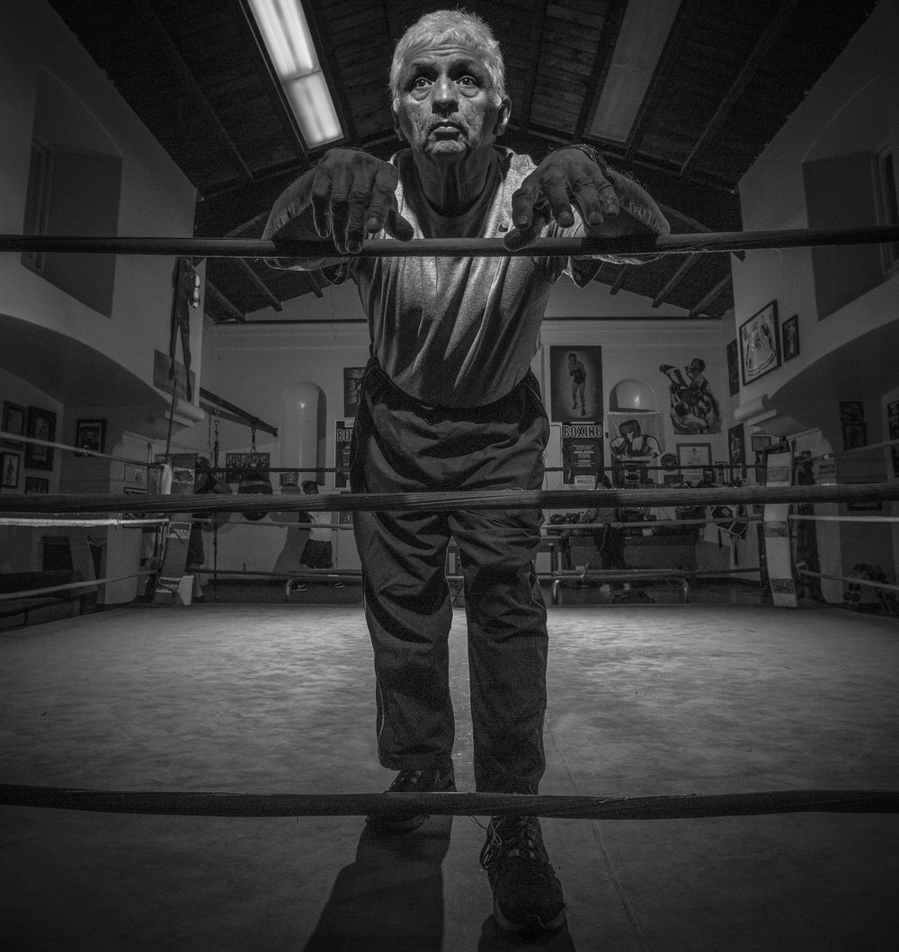 David Martinez has been the administrator, and trainer at the La Habra Boxing Club in La Habra Ca. for more than 25 years. He got into boxing after he was a medic in the veitnam war. Photo taken on November 5th 2015. (Photo By: Daniel Bowyer/Sports Shooter Academt)
