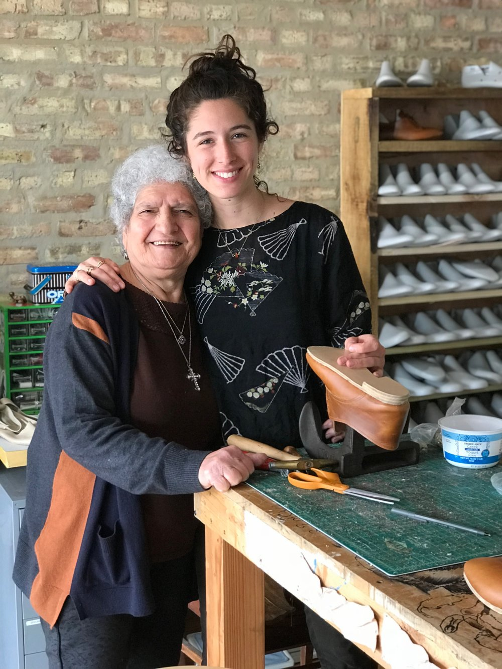 Photo: Showing my Grandma, a lifelong seamstress, how I make shoes in my studio.