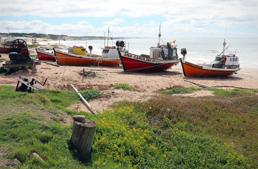 Beached fishing boats on Punta del Diablo