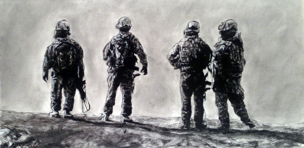 "Charcoal on paper, 2013. 12""x24"". Private collection."