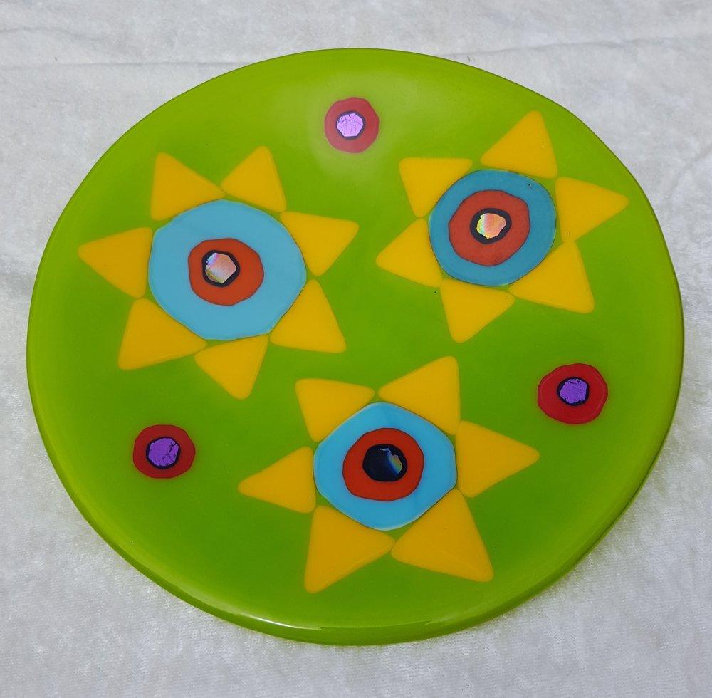 "Green flower plate 8"" $48."